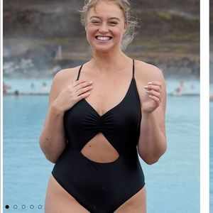 New Aerie Cutout Black One-Piece Swimsuit - XLarge